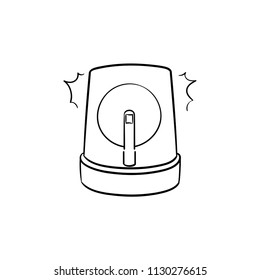 Emergency lights and siren hand drawn outline doodle icon. Flasher, alarm, alert, accident concept. Vector sketch illustration for print, web, mobile and infographics on white background