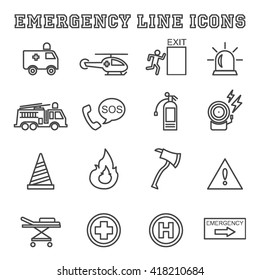 emergency line icons, mono vector symbols