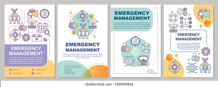 Emergency management brochure template. Natural disaster. Flyer, booklet, leaflet print, cover design with linear illustrations. Vector page layouts for magazines, annual reports, advertising posters