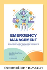 Emergency management poster template layout. Rescue service. Natural disaster. Banner, booklet, leaflet print design, linear icons. Vector brochure page layouts for magazines, advertising flyers