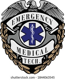 Emergency Medical Tech badge logo with eagle, wings, wreath and caduceus medic symbol with snake. Multi color, blue, gold, silver gray and black. Illustrator eps vector graphic design.
