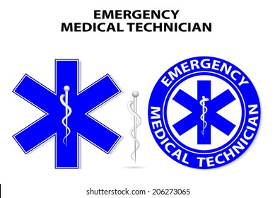 Emergency medical technician.  global symbol of emergency medical service. Paramedic Medical Designs