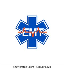 Emergency Medical Technician on white background logo. Courses for hospital staff and volunteers.