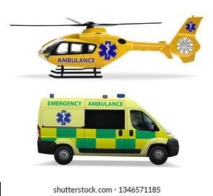 Emergency medical transport. Helicopter air ambulance and ambulance car. Realistic isolated objects on white background. Vector illustration.