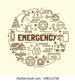 emergency minimal thin line icons set, vector illustration design elements