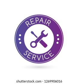 emergency repair service logo or badge with wrench silhouette. vector illustration isolated on white background.