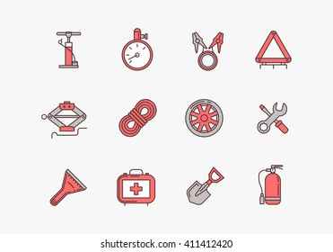 Emergency road kit items. Emergency flat line icons set. Automobile items. Car service and repairing equipment. Vector illustrations. Auto mechanic tools.