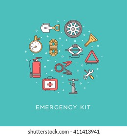 Emergency road kit items. Emergency flat line icons set. Icons placed in the form of a circle. Automobile items. Car service and repairing equipment. Vector illustrations. Auto mechanic tools.