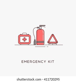 Emergency road kit items. Emergency flat line icons set. Automobile items. Vector illustrations. The set of basic necessities in case of accidents