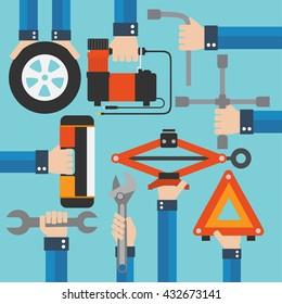 Emergency road kit items,auto mechanic tools modern flat design.Vector illustration