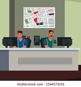 Emergency service operators flat illustration. 911 call center workers with headset cartoon vector male characters. Helpdesk, city map hanging on wall composition. Helpline, hotline dispatchers