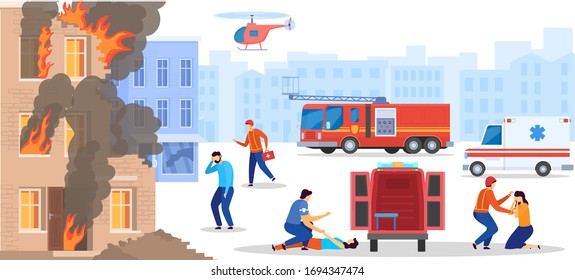 Emergency service rescue people from destroyed burning house, doctor help victim, vector illustration. Disaster accident in city, paramedics save men and women. Ambulance emergency team, explosion