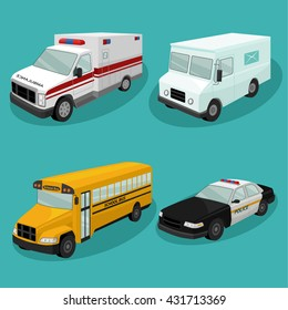 emergency services cars.Vector illustration of different types of automobiles includin Police car, ambulance,school bus,mail bus,postal truck