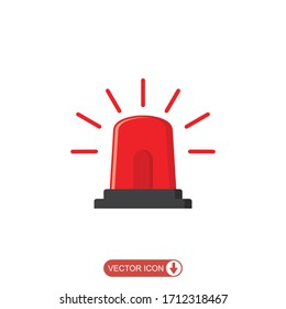 Emergency siren icon in flat style. warning sign, police alarm, ambulance alarm, Medical alert. vector illustration