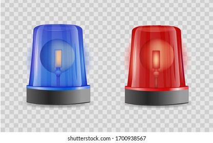 Emergency siren realistic 3D transparent background . Police alarm vector illustration on white isolated background. Medical alert business concept.