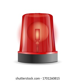 Emergency siren realistic 3D transparent background. Police or ambulance red flasher siren