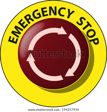 Emergency Stop Button Stock Vector Royalty Free 194257934