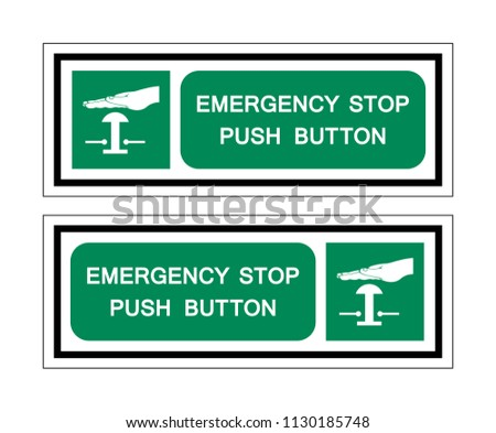 Emergency Stop Push Button Symbol Sign Stock Vector Royalty Free