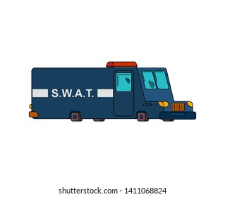 Emergency swat department transportation. Police car bus