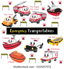 Emergency Transportations cartoon set with vehicles name in perspective view vector illustration.