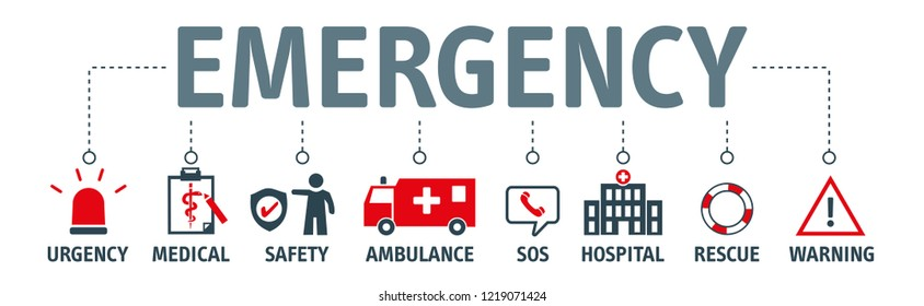 emergency vector banner design concept. emergency kit for evacuation, vector objects set on white background