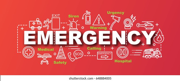 emergency vector trendy banner design concept, modern style with thin line art emergency icons on gradient colors background