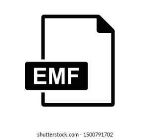 EMF icon or EMF file format vector isolate on white background