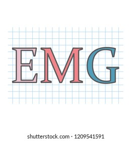 EMG (Electromyography) acronym written on checkered paper sheet- vector illustration