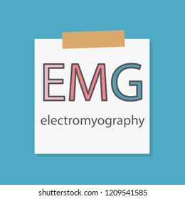 EMG Electromyography written in a notebook paper- vector illustration