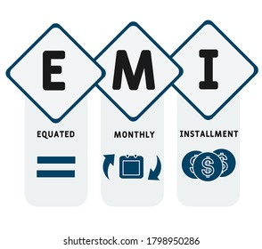 EMI - equated monthly installment. acronym business concept. vector illustration concept with keywords and icons. lettering illustration with icons for web banner, flyer, landing page, presentation