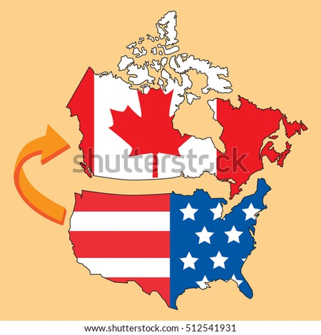Emigrate Canada United States America Map Stock Vector Royalty Free