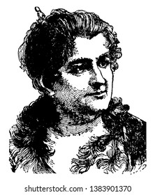 Emilia Pardo Bazan,  1851-1921, she was a Spanish novelist, poet and playwright, famous for introducing naturalism to Spanish literature, vintage line drawing or engraving illustration