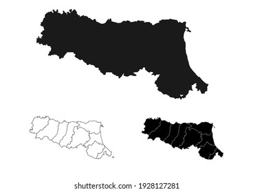 Emilia Romagna Italy Blank Map Black Silhouette and Outline Vector Isolated on White