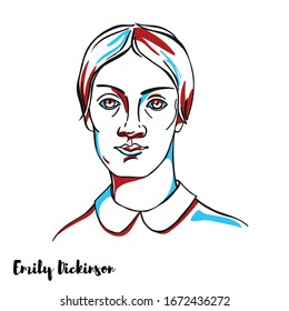 Emily Dickinson engraved vector portrait with ink contours. American prolific poet, fewer than a dozen of her nearly 1,800 poems were published during her lifetime.