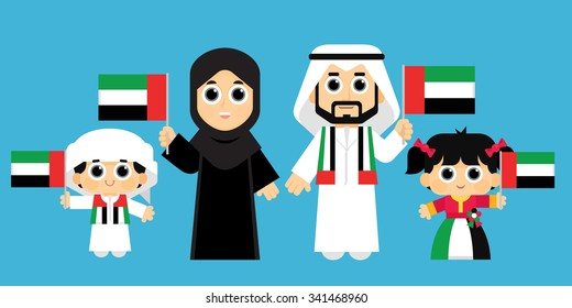 An Emirati Family Celebrates United Arab Emirates National Day