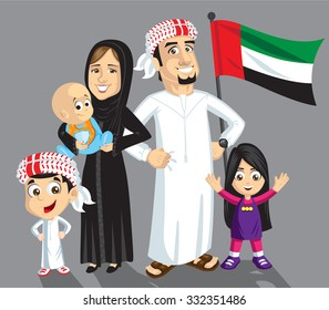 Emirati family with flag