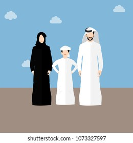 EMIRATI FAMILY , NATIONAL DRESS