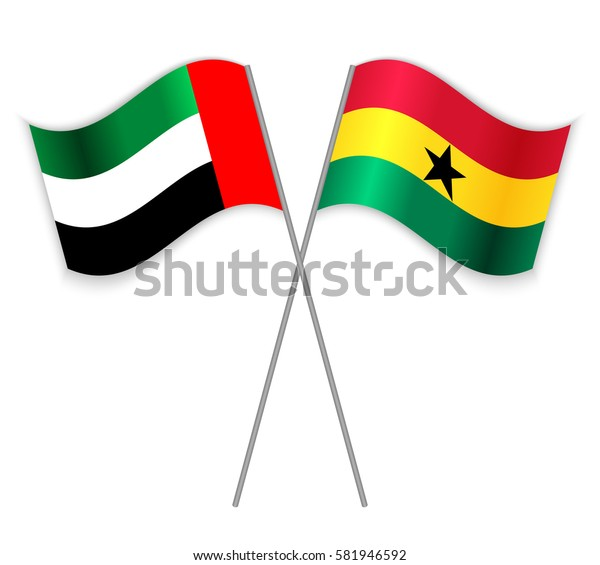 Emirian and Ghanaian crossed flags. United Arab Emirates combined with Ghana isolated on white. Language learning, international business or travel concept.