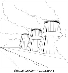 Emission pollutions factory. Cooling towers vector industrial energy. CO2 greenhouse, smoking cooling towers in outline. Smoking pipes of thermal power plant, emission smoke clouds, birds, highway.