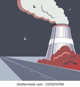 Emission pollutions factory. Cooling towers vector industrial energy. CO2 greenhouse, smoking cooling towers in dark colors. Smoking pipes of thermal power plant, emission smoke clouds, birds, highway
