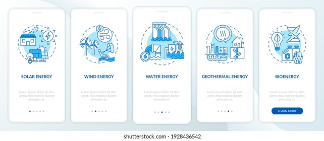 Emissions of carbon onboarding mobile app page screen with concepts. Emerging technologies walkthrough 5 steps graphic instructions. . UI vector template with RGB color illustrations