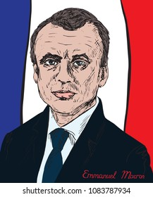 Emmanuel Macron face front, French politician serving as President of France and ex officio Co-Prince of Andorra, drawn by hand vector color illustration, flag background, illustrative editorial