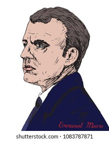 Emmanuel Macron face profile, French politician serving as President of France and ex officio Co-Prince of Andorra, drawn by hand vector color illustration, simple ink drawing, illustrative editorial