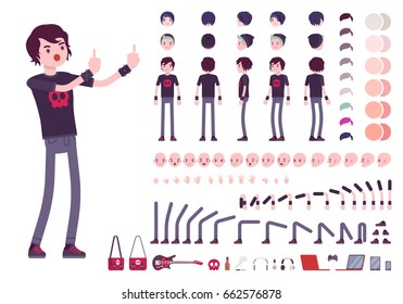 Emo boy character creation set, true black subculture look. Full length, different views, emotions, gestures, white background. Build your own design. Cartoon flat-style infographic illustration