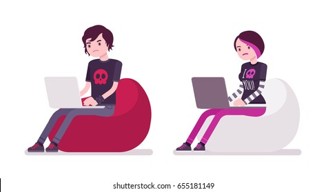 Emo boy and girl, true subculture look, skinny pants, black t-shirt, choppy hairstyle, sitting on bean bag working with laptop. Vector flat style cartoon illustration, isolated, white background