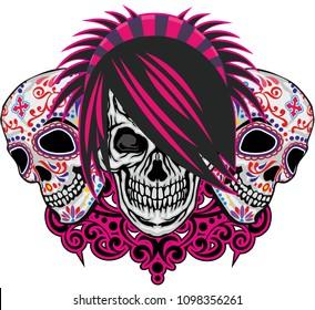 emo coat of arms with sugar skull, grunge vintage design t shirts