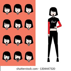 Emo girl character set with different emotions