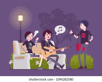 Emo hanging out. Young members of subculture social group, depressed teenagers with dark look wearing black clothing, messy hair enjoy time together at street. Vector flat style cartoon illustration