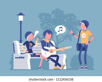 Emo hanging out. Young members of subculture social group, depressed teenagers with dark look wearing black clothing, messy hair enjoy time together at street. Vector illustration, faceless characters