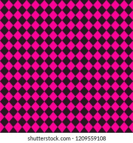 Emo subculture background. Black and bright pink rhombus plaid. Vector illustration seamless pattern